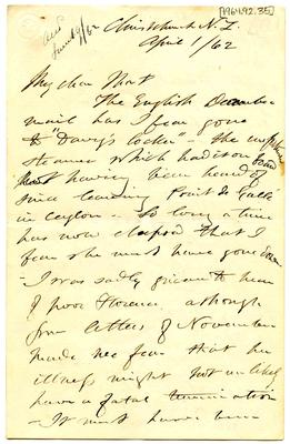 Letter: Alfred Charles Barker to Matthias Barker, 1 April 1862