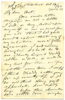 Letter: Alfred Charles Barker to Matthias Barker, 14 October 1862