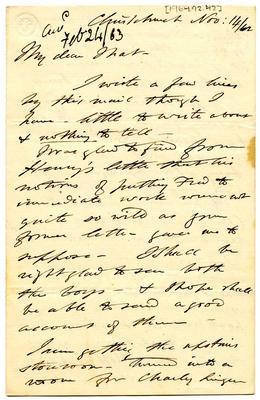 Letter: Alfred Charles Barker to Matthias Barker, 14 November 1862
