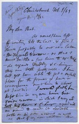 Letter: Alfred Charles Barker to Matthias Barker, 8 February 1863