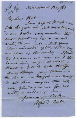 Letter: Alfred Charles Barker to Matthias Barker, 8 May 1863