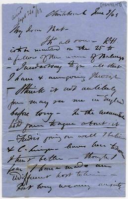 Letter: Alfred Charles Barker to Matthias Barker, 8 June 1863; 08 Jun 1863; 1964.92.47