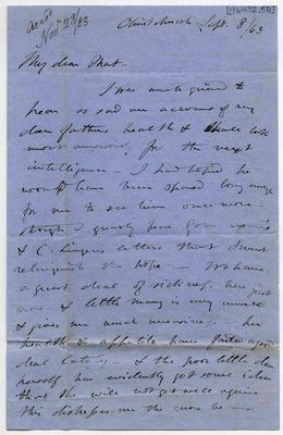 Letter: Alfred Charles Barker to Matthias Barker, 8 September 1863