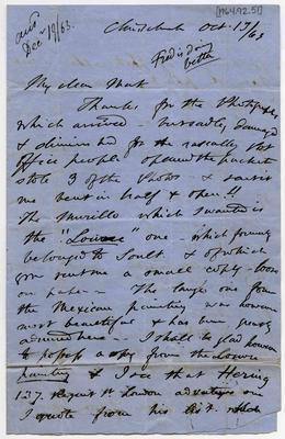 Letter: Alfred Charles Barker to Matthias Barker, 13 October 1863