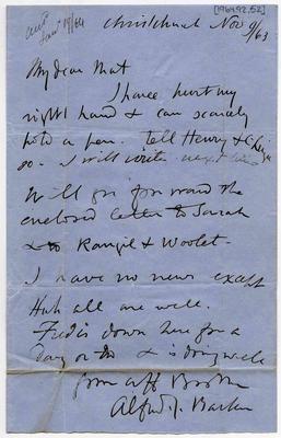 Letter: Alfred Charles Barker to Matthias Barker, 9 November 1863
