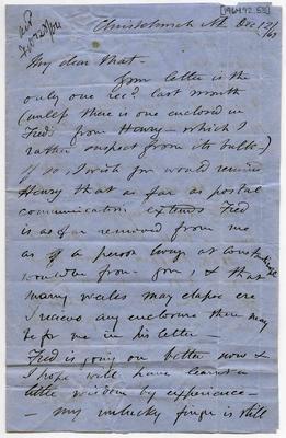 Letter: Alfred Charles Barker to Matthias Barker, 12 December 1863