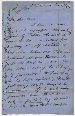 Letter: Alfred Charles Barker to Matthias Barker, 13 January 1864