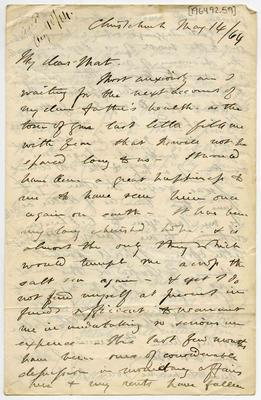 Letter: Alfred Charles Barker to Matthias Barker, 14 May 1864
