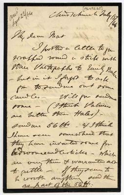 Letter: Alfred Charles Barker to Matthias Barker, 15 July 1864