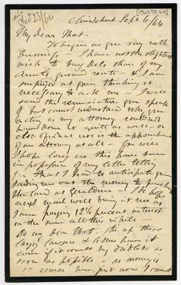 Letter: Alfred Charles Barker to Matthias Barker, 6 September 1864