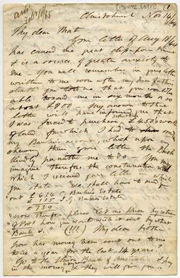 Letter: Alfred Charles Barker to Matthias Barker, 14 November 1864