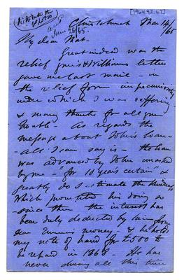 Letter: Alfred Charles Barker to Matthias Barker, 14 March 1865