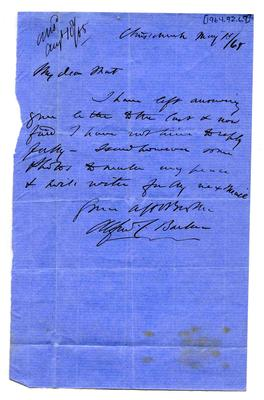 Letter: Alfred Charles Barker to Matthias Barker, 15 May 1865