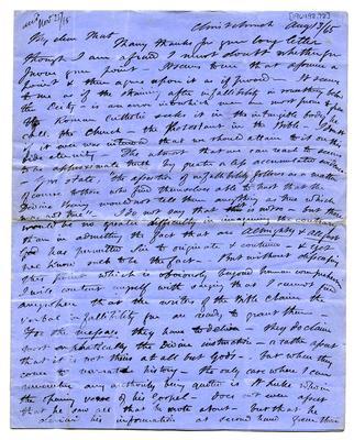 Letter: Alfred Charles Barker to Matthias Barker, 13 August 1865