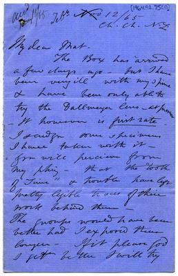 Letter: Alfred Charles Barker to Matthias Barker, 12 November 1865