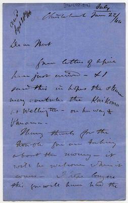 Letter: Alfred Charles Barker to Matthias Barker, 22 June 1866