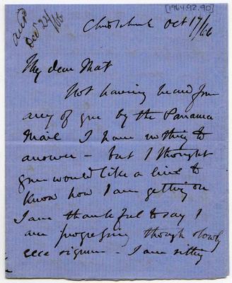 Letter: Alfred Charles Barker to Matthias Barker, 17 October 1866