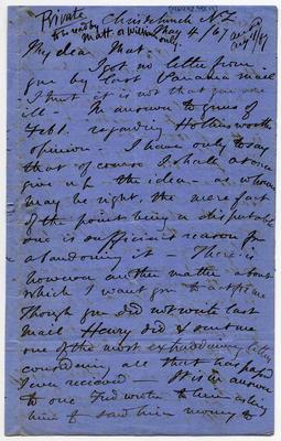 Letter: Alfred Charles Barker to Matthias Barker, 4 May 1867