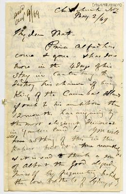 Letter: Alfred Charles Barker to Matthias Barker, 2 May 1869