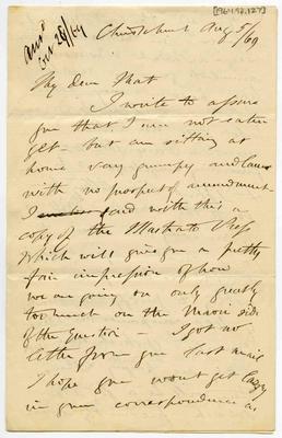 Letter: Alfred Charles Barker to Matthias Barker, 5 August 1869