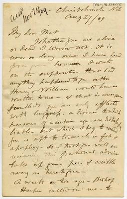 Letter: Alfred Charles Barker to Matthias Barker, 27 August 1869
