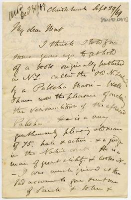 Letter: Alfred Charles Barker to Matthias Barker, 29 September 1869