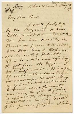 Letter: Alfred Charles Barker to Matthias Barker, 31 August 1870