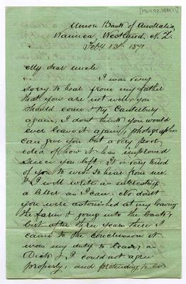 Letter: Samuel Delabere Barker to Uncle [Matthias Barker?], 13 February 1871; 13 Feb 1871; 1964.92.158