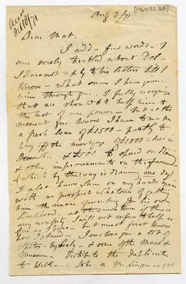 Letter: Alfred Charles Barker to Matthias Barker, 3 August 1871