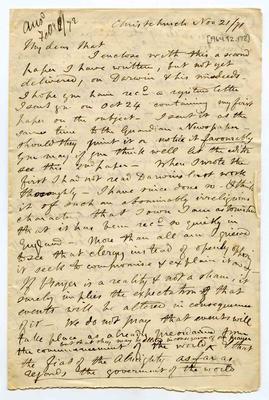 Letter: Alfred Charles Barker to Matthias Barker, 21 November 1871