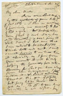 Letter: Alfred Charles Barker to Matthias Barker, 21 December 1871