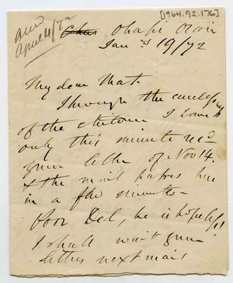 Letter: Alfred Charles Barker to Matthias Barker, 19 January 1872; 19 Jan 1872; 1964.92.176