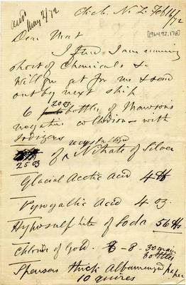 Letter: Alfred Charles Barker to Matthias Barker, 16 February 1872