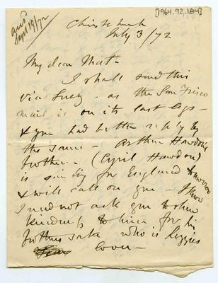 Letter: Alfred Charles Barker to Matthias Barker, 3 July 1872
