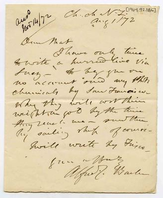 Letter: Alfred Charles Barker to Matthias Barker, 1 August 1872