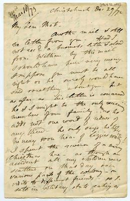 Letter: Alfred Charles Barker to Matthias Barker, 29 December 1872