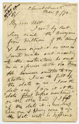 Letter: Alfred Charles Barker to Matthias Barker, 9 March 1873; 09 Mar 1873; 1964.92.196
