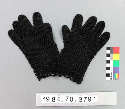 Gloves: Black Crochet; 1930s-1940s; 1984.70.3791