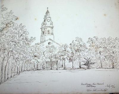 Sketch: Hackney New Church, Middlesex, 10 July 1850