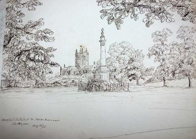 Sketch: Hereford Cathedral and Nelson Monument, 10 August 1850