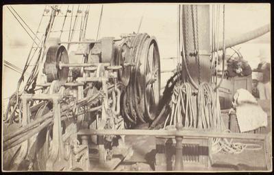 Photograph: A Ship's Mechanisms on Deck, Wellington