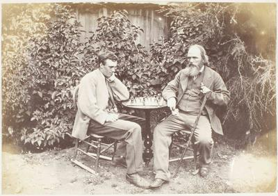 Photograph: Dr A C Barker and Mr Arthur L Barker Playing Chess