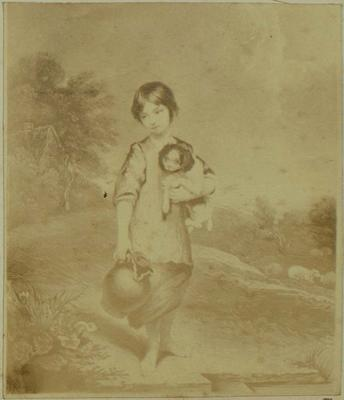 Photograph: Peasant Child with Puppy, Illustration
