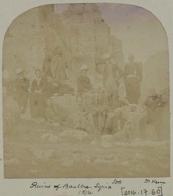 Photograph: People at the Ruins of Baalbec in Syria, 1874