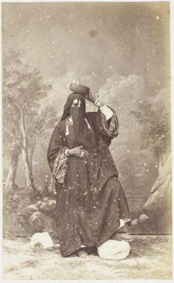 Photograph: Arab Woman with Bowl on Head, Cairo