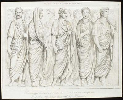 Engraving: Men in Robes, Florence Italy