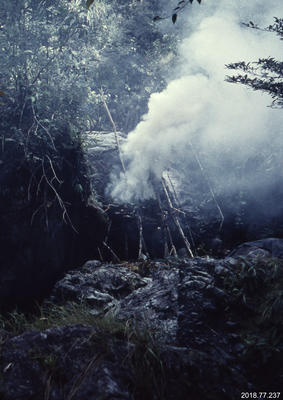 35mm Slide: Fire Platform Beneath a Boulder