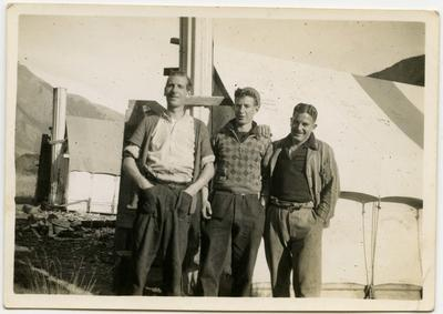 Photograph: Men at Tent Camp, Lewis Pass Road