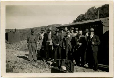 Photograph: Group of dignitaries at Public Works Department Camp; 1930s; 2018.13.8