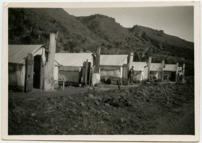 Photograph: Line of tents at Public Works Department Camp, Lewis Pass Road